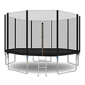 MALATEC Gartentrampolin Outdoor Trampolinmit Sicherheitsnetz und Leiter bis 150 kg Komplettset inkl.Außennetz 180/305/366cm 2215 (366cm/12ft)