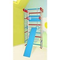 Dani LLC ¡Construcción robusta! Zona de juegos de madera para interior SportKids-3 Escalera sueca Complejo deportivo de gimnasia (Rojo + Azul, Altura: 225 cm)