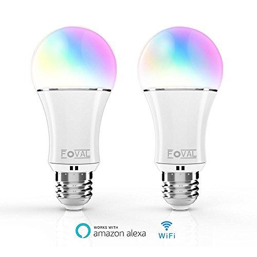 Foval (2 Pack) smart alexa Lampe, WIFI LED Lampe E27 Birne,fonktioniert mit amazon Alexa Echo und Smartphone. Buntes Licht Dimmbar Glühbirne (Nacht Lichter Licht Birne)