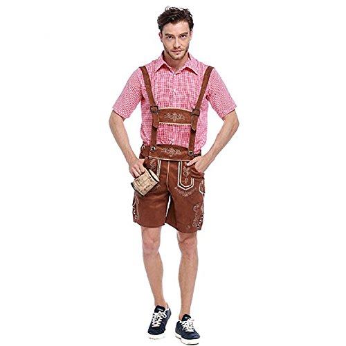 Costour Herren Oktoberfest Kurz- Lederhose mit Träger Trachtenhemd Echtleder Trachtenhose Kostüme Trachtenmoden (Hosenträgern Männer Mit Kostüme)