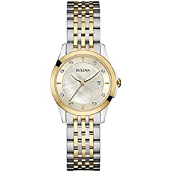 Bulova Ladies Women's Designer Diamond Watch Bracelet - Two Tone Steel Gold Mother Of Pearl Wrist Watch 98S148