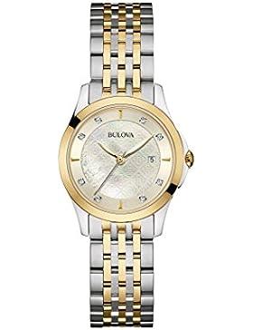 Bulova Diamond 98S148 - Damen Designer-Armbanduhr - Stahl & Perlmutt - Zweifarbig mit Goldfarbe