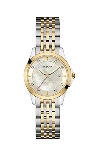 bulova-diamond-98s148-damen-designer-armbanduhr-stahl-perlmutt-zweifarbig-mit-goldfarbe