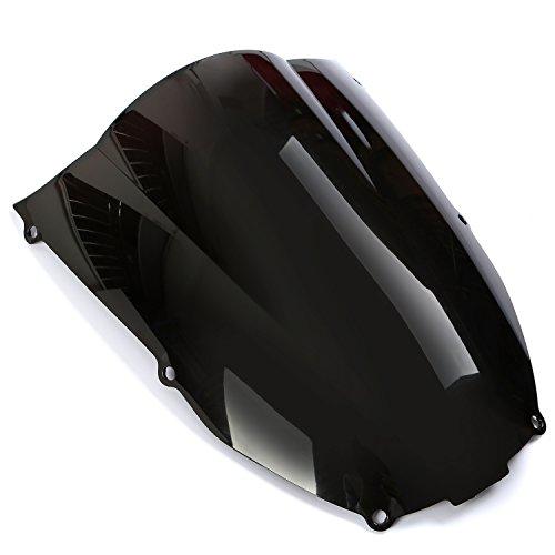 CICMOD Parabrisas Moto, Cúpula Parabrisas Antiviento Moto Windshield WindScreen para Kawasaki Ninja ZX6R 2000 2001 2002, Negro