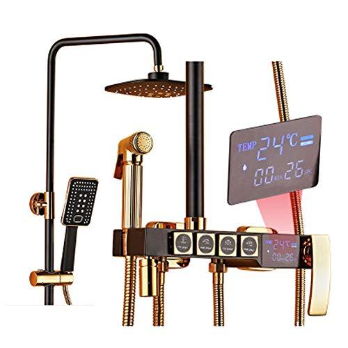Preisvergleich Produktbild Booster Duschset Intelligente Digitalanzeige Wandmontage Duschset All-Copper Haushalt Nicht-Thermometer Düse Set Duschseite Duschset Lifting Booster Duschkopf (G7Q33HS) Größe gold