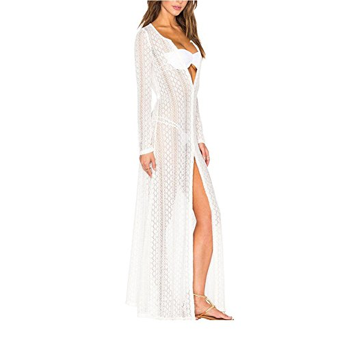 PU&PU Spiaggia Corchet pizzo Bandeau Dress Maxi cover-up Cardigan donne per Bikini manica lunga White