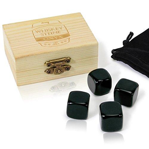 Amazy Onyx Eiswrfel 4 Stck Inkl Holzbox Aufbewahrungsbeutel Wiederverwendbare Whisky Steine Aus Vulkanischem Gesteinsglas Fr Eine Optimale Khlung Von Getrnken