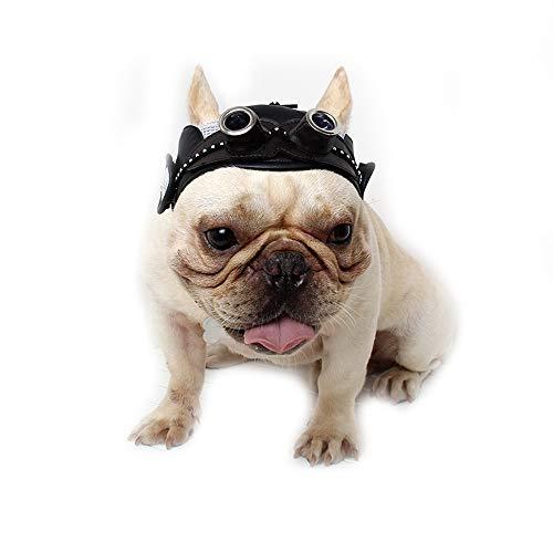 Halloween Bulldogge Kostüm Französische - Dreamls Haustierhut für Hunde, Halloween, Retro-Ledermütze mit Ohrlöchern, verstellbarem Riemen, Party-Kostüm für Französische Bulldogge