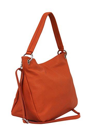 AMBRA-Moda-Damen-echt-Ledertasche-Handtasche-Schultertasche-Beutel-Shopper-Umhngtasche-GL002-Orange