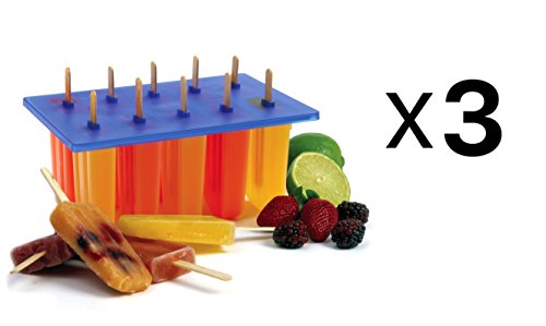 Norpro Frozen Ice Pop Maker with 24 Wooden Sticks - Makes 10 Popsicles (3-Pack) - Norpro Ice Cream