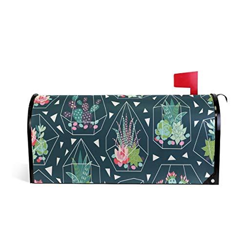 Wamika Sukkulenten Kaktus-Glas-Welcome-Briefkasten-Abdeckung für Briefkasten, grüne Tropische Pflanze, Standard-Größe, Makover Mailwrap Garten Home Decor