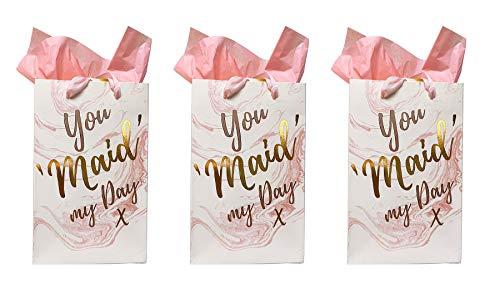 Geschenktüten für Brautjungfer, kleine Geschenktüten, Hochzeit, Braut, Dankespackung + gratis Seidenpapier, mehrfarbig, 3 x Small (Usher Kleid)