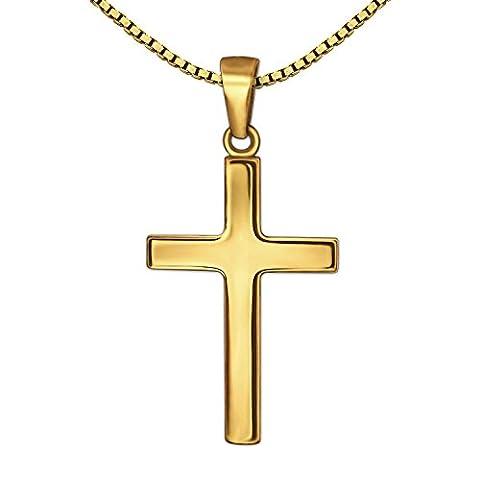 CLEVER SCHMUCK-SET Goldener Anhänger kleines Kreuz 18 mm schlicht glänzend 333 GOLD 8 KARAT mit vergoldeter Kette Venezia 40 cm im Etui