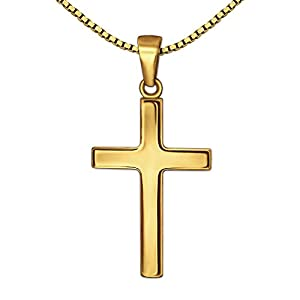 CLEVER SCHMUCK Set Goldener Anhänger kleines Kinder Kreuz 18 mm schlicht glänzend 333 Gold 8 Karat mit vergoldeter Kette Venezia 40 cm im Etui