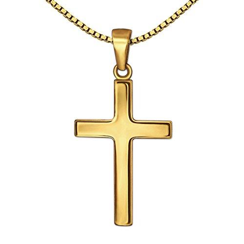 CLEVER SCHMUCK-SET Goldener Anhänger kleines Kreuz 18 mm schlicht glänzend 333 GOLD 8 KARAT mit vergoldeter Kette Venezia 40 cm im Etui (Herren Schmuck Ketten Gold 18)
