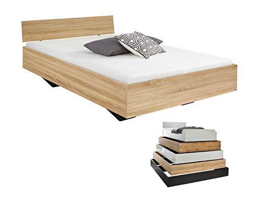 lifestyle4living Futonbett 120x200, Eiche Sonoma Dekor mit Kopfteil   Flaches Einzelbett für bodennahen Schlaf-Komfort -