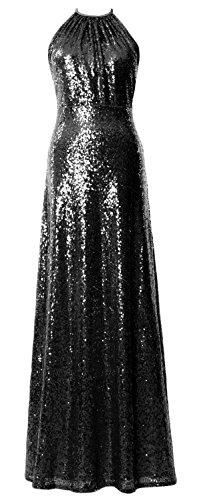 MACloth Women Halter Sequin Long Bridesmaid Dress Wedding Party Formal Gown Black