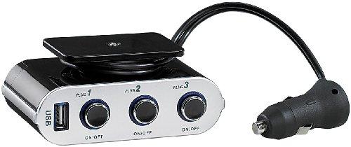 revolt 4-fach Kfz-Verteiler mit 1x USB- & 3 schaltbaren 12-V-Buchsen