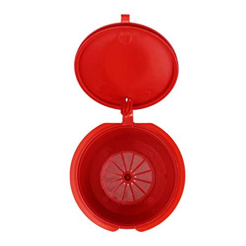 Fenghong 3Pcs Kaffeefilter, Mini Kaffeekapseln Teebrühfilter Wiederverwendbare Espresso Kaffeekapseln - Rot
