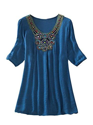 damen-hemdkleid-ethnische-bestickte-strandbluse-boho-minikleid-sommerblusen-denim-blau