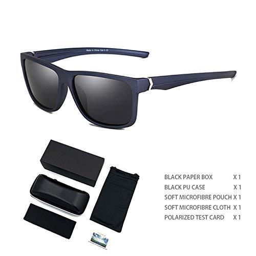 Männer Sonnenbrille polarisierte Fashion Square Sports Sun-Gläser Unisex Red Shades Driving Brillen, Blau Schwarz