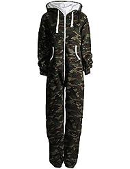 Fast Fashion - Salopette De Armée Imprimé Camouflage Militaire Toison Onesie À Capuche - Femmes