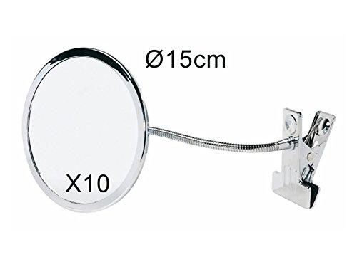 Miroir grossissant X10 flexible avec pince
