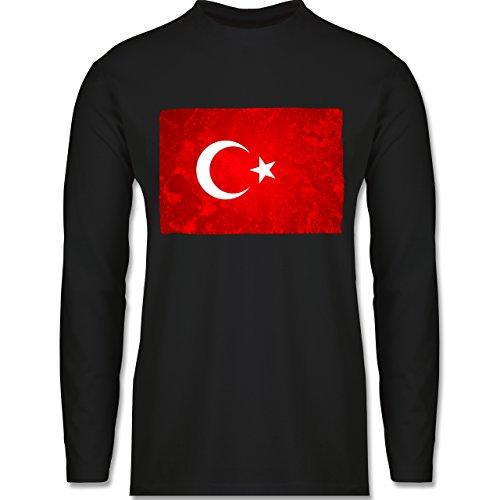 Shirtracer Länder - Flagge Türkei - Herren Langarmshirt Schwarz