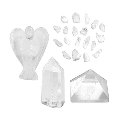 QGEM Healing Crystal Kit, Clear Quartz Guardian Angel, Crystal Single