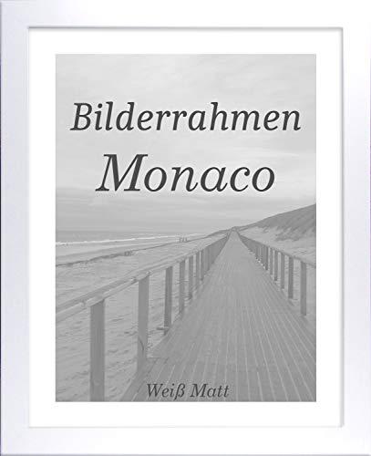 Homedeco-24 Monaco MDF Bilderrahmen ohne Rundungen 70 x 60 cm Größe wählbar 60 x 70 cm Weiß matt mit Acrylglas klar 1 mm