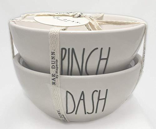 Rae Dunn von Magenta Pinch & Dash Keramik 2Stück Set Mini Würze Schalen groß LL Pinch Bowl Set