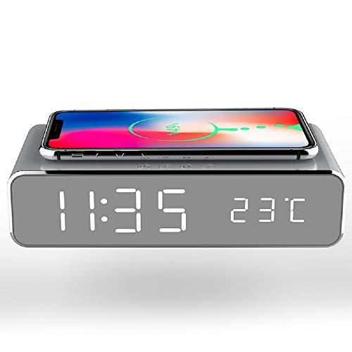 CHUANGE Reloj Despertador de Carga inalámbrico, Reloj Despertador Digital con Espejo HD...
