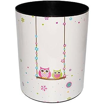 NFtop Papierkorb 12L Papierkorb Kinder aus PU Papierkorb B/üro Papierkorb M/ädchen M/ülleimer /Ø 25cm