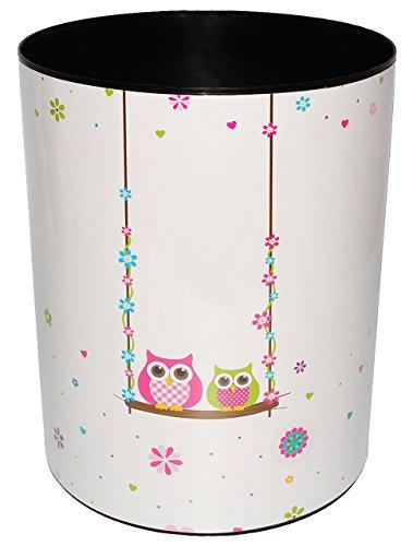 """Preisvergleich Produktbild Papierkorb / Behälter - """" Eulen auf Schaukel """" - aus Kunststoff - Mülleimer / Eimer - Aufbewahrungsbox für Kinder - Mädchen & Jungen - Abfalleimer - Tiere - Eule & Blumen / Blüte / Schule - für Kinderschreibtisch / Abfallbehälter Kinderzimmer - Erwachsene - lustig Comic - auch als Blumentopf nutzbar - Kunststoffeimer"""