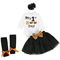 Vestido Niña Conjuntos de Falda de tutú sólido para niñas pequeñas y bebés con Estampado de Halloween para niños pequeños