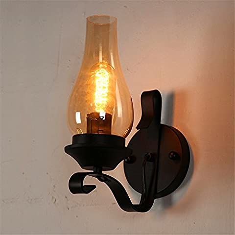 QWER Chinese wall lamp bedroom bedside lamp retro industrial wind single head wreath lantern aisle staircase lamps, 280 *