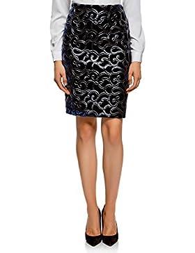 oodji Collection Mujer Falda de Terciopelo con Dibujo de Piel Sintética