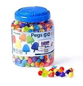Miniland- Pegs 20 mm (650 Piezas) -Bright Colors Jugar con mosaicos. (31849)