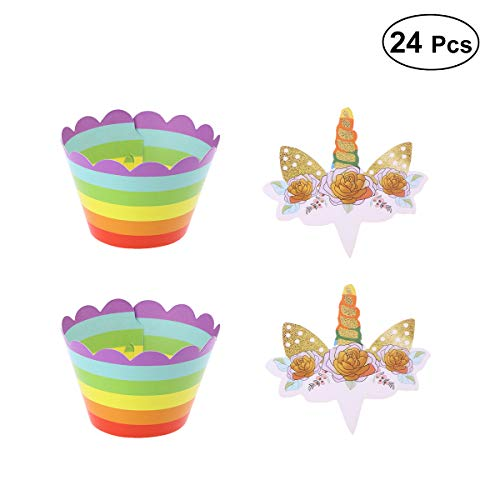 LUOEM 24 UNIDS Glitter Unicorn Rainbow Cupcake Toppers Wrappers Unicorn Topper Doppelseitig Bithday Party Cake Decoration for Kids Birthday Party Supply (Party Supplies Birthday Kid)