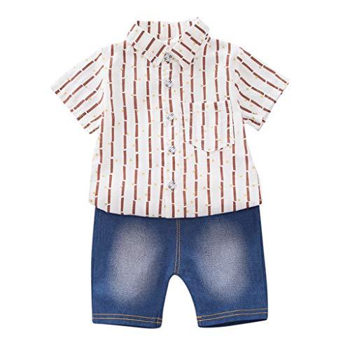 der Jungen Kurzarm Dinosaurier Muster Shirt Tops + Denim Hosen Kinderschlafanzüge Baby Mädchen Cartoon Outfits T Shirt Tops + Shorts Sommer Kleidung Set ()