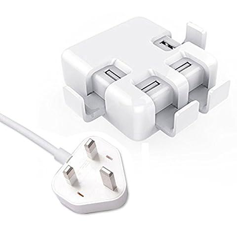 norzero Chargeur USB Chargeur Mural 40W 8A 4ports de bureau Station de charge Charge Rapide avec support (U4Blanc Prise UK)