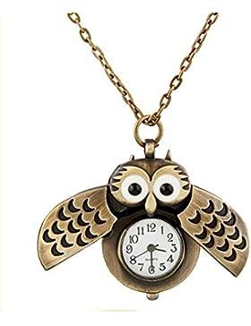 XLORDX Vintage supersüße Taschenuhr Halskette mit Uhr Kette Quarz Eule Eulenkette Bronze Schmuck Quarzuhr Eulenuhr...