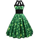 Jour de ZahuihuiM St. Patrick Robes Femmes De La Mode Trèfle sans Manches Fleur Imprimer Robe Swing pour La Fête De Bal