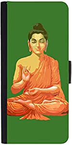 Snoogg Buddha For Peace Green Designer Protective Flip Case Cover For Apple I...