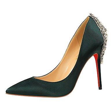 Moda Donna Sandali Sexy donna caduta tacchi Comfort abito in seta Stiletto Heel altri nero / blu / verde / viola / rosso / Argento a piedi Green