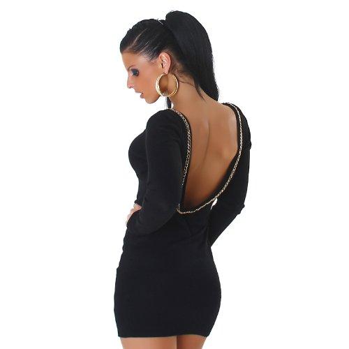 Jela London femmes robe pull à manches longues pull long pull encolure dos optique côtelés pull robe longue chemise 36,38,40,42 Noir
