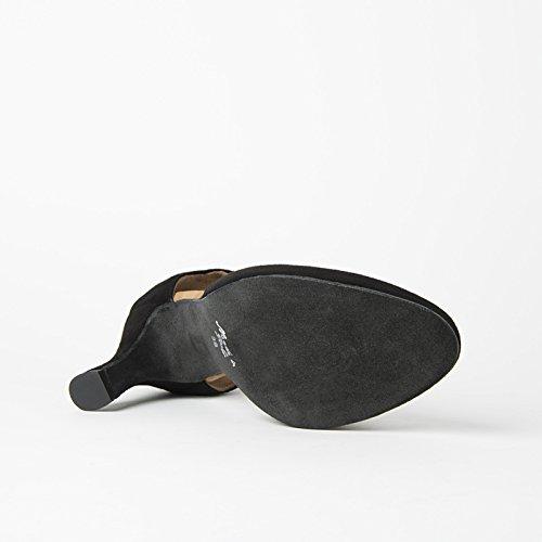 Rumpf 9112 Tanzschuhe Wildleder Latein Salsa Rumba Tango Ballroom Schuhe, Chromledersohle Absatz 7 cm Made in Italy Schwarz