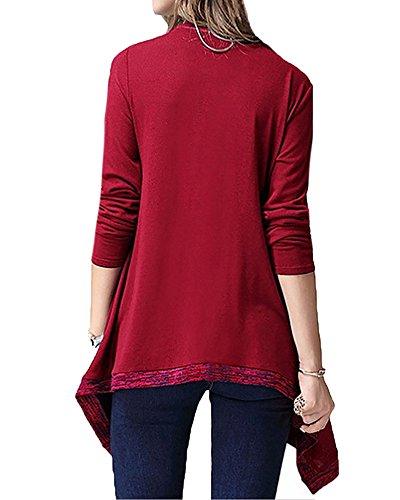 Junshan Femme Longueur Pull Manches Longues Faux Chemisier à Deux Pièces Grand Code Manches Longues Mince Poche Pull Rouge