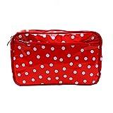 Wasserabweisende Kosmetiktasche, Kulturtasche, Waschtasche, für Reise und Urlaub, aus Wachstuch Lunares rot, Handarbeit