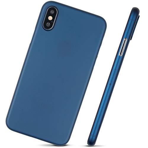 MobiTek Schutzhülle für iPhone XS, ultradünn, minimalistisches Design, ohne Markenlogo, blau -
